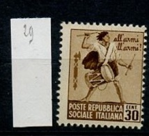 Italie République Sociale - Italy - Italien 1944 Y&T N°29 - Michel N°656 * - 30c Tambour - 4. 1944-45 Sozialrepublik