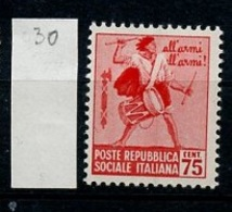 Italie République Sociale - Italy - Italien 1944 Y&T N°30 - Michel N°657 * - 75c Tambour - 4. 1944-45 Sozialrepublik