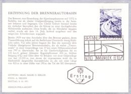 1971  Eröffnung Der Brenner-Autobahn FDC Karte (ANK 1402, Mi 1372) - FDC