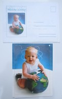Play Music,Music Card-Two Part Telegram Card With Enelope-Yugoslavia - A Child Holds The Planet Earth - Jugoslavia