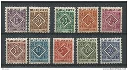 """Madagascar Taxe YT 31 à 40 """" Chiffre-Taxe, Série Complète """" 1942 Neuf* - Madagascar (1889-1960)"""
