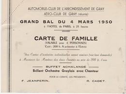 Carte Invitation 1950 / Grand Bal  Automobile-club Et Aéro-club (aviation) / 70 Gray - Maps