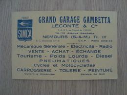 CARTE DE VISITE GARAGE GAMBETTA LECONTE & Cie NEMOURS 77 SIMCA - Cartes De Visite