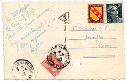 France N° 713, 757 Et Taxe 83 Y. Et T. Cachet A4 Moncontour De Poitou Vienne Du 07/04/1947 Ind 2 - Poststempel (Briefe)