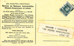 053/29 - Carte-Vue Double PREO Houyoux DINANT 1928 - Bateaux Touristes Sur La Meuse Dinant Waulsort Heer Agimont - Roller Precancels 1920-29