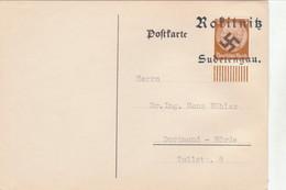 "III. Reich, Postkarte "" Rokitnitz - Sudetengau "" Nach Dortmund - Hörde - Germany"