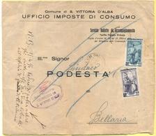 ITALIA - ITALY - ITALIE - 1956 - 12 + 1 Italia Al Lavoro - Comune Di Santa Vittoria D'Alba - Viaggiata Da Santa Vittoria - 1946-60: Marcophilie