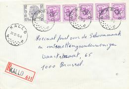 058/29 - Lettre Recommandée TP Elstrom Et PREOS (Combinaison RARE En Reco) KALLO 1975 Vers BXL - Typo Precancels 1951-80 (Figure On Lion)