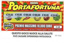 GRATTA E VINCI   - NUOVO PORTAFORTUNA €1.00 - USATO  -  (QUESTO GIOCO NUOCE ALLA SALUTE) - Biglietti Della Lotteria