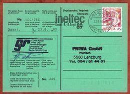 Karte, Drucksache, Postschalter, Basel Nach Lenzburg 1989 (73134) - Suisse