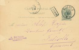 060/29 - Entier Postal Lion Couché Ambulant OUEST 2 En 1889 Vers FALISOLLE TAMINES - Griffe De Gare Encadrée MENIN - Marcophilie