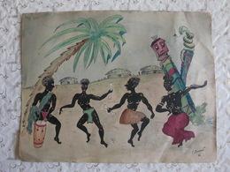 Dessin Aquarelle Encre De Chine Signée Dédicacée 1931 Bamboula Macabre Origine Et Signature à Déterminer...? - Obj. 'Souvenir De'