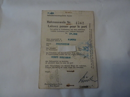 Laisser Passer Pour Le Port De Nantes Pendant L'occupation Allemande - Documents Historiques