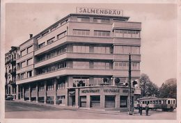 Basel, Tramway, Restaurant Zur Heuvage, Salmenbräu (13930) 10x15 Dos Taché - BS Bâle-Ville