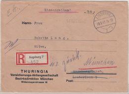 """All.Bes. - Augsburg 7 - 10.8.45, """"-,38 Pfg."""", Orts-Einschreibebrief, Nachsendung - Allemagne"""