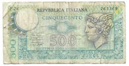 BILLET Italie - 500 Lire 1979 - [ 2] 1946-… : Républic