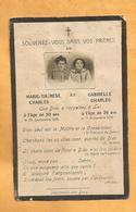 IMAGE GENEALOGIE FAIRE PART AVIS DECES CARTE MORTUAIRE MARIE THERESE GABRIELLE CHARLES 1918 - Décès