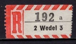 Einschreibezettel, Wedel (73169) - Etiquettes 'Recommandé' & 'Valeur Déclarée'
