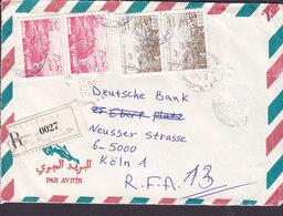 Alegeria Algerie Par Avion Registered Recommandé Label ANNABA 1987 Cover Lettre DEUTSCHE BANK Köln Germany - Algerien (1962-...)