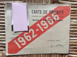 CARTE DE PRIORITÉ  Mutile Ou Reforme De Guerre RÉSEAUX R.A.T.P. 1962-1966 - Historical Documents