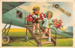 Carte Fantaisie Colorisée, 1944 Avion Fleurs - Aviation