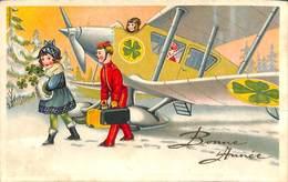 Carte Fantaisie Colorisée, Avion Trèfle ... - Aviation