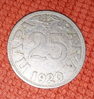 YUGOSLAVIA KINGDOM Of SHS 25 PARA 1920 - Yugoslavia