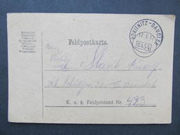 KARTE Bahnpost Zugstempel Rokitnitz - Daudleb 1917 Nr. 5454 Feldpost// D*37871 - Briefe U. Dokumente
