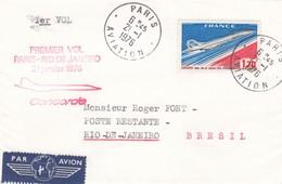 FRANCE - LETTRE 1er VOL PARIS RIO DE JANEIRO CONCORDE 21 JANV. 1976 - OBLITERATION PARIS AVIATION 21.1.1976 / 6545 - Marcofilia (sobres)