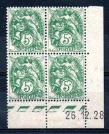 FRANCE - YT N° 111 Bloc De 4 Coin Daté - Neuf ** - MNH - Cote: 28,00 € - ....-1929