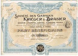 Titre Ancien - Société Des Garages Kriéger & Brasier - Titre De 1905 - Automobile