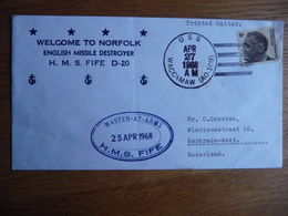 (zw) Schiffpost Shipmail .WELCOME TO NORFOLK ENGLISH MISSILE DESTROYER H.M.S. FIFE D-20 1968 UNITED STATES. - Schiffe