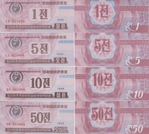 KOREA Set 1 5 10 50 Chon 1988  P 23(2) 24(2) 25(2) 26(2)  UNC - Korea, North
