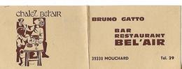 Carte Commerciale / Facturette /39 MOUCHARD / Bar Restaurant Chalet BEL'AIR / Bruno GATTO - France