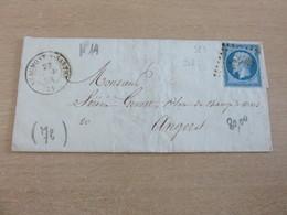 Lettre, N°14, De Beaumont Sur Sarthe à Angers (Maine Et Loire)  27-11-55  (B42-L6) - 1849-1876: Periodo Classico