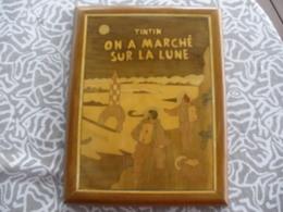 CADRE BOIS MARQUETTERIE TINTIN / ON A MARCHE SUR LA LUNE - Livres, BD, Revues