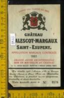 Etichetta Vino Liquore Chateau Malescot-Margaux 1961 Francia - Etiquettes