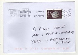 Enveloppe FRANCE Oblitération LA POSTE 37668A-03 26/04/2019 - Postmark Collection (Covers)