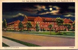 North Carolina Fort Bragg Field Artillery Barracks At Night Curteich - Fayetteville