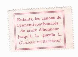 Vignette Militaire Delandre - Patriotique - Enfants, Les Canons De L'ennemis Sont Bourrés - Colonel De Bellefon - Vignettes Militaires