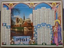 Calendrier Almanach Facteur La Poste - 1961 Notre Dame De Paris - Calvados - Oller - Big : 1961-70