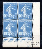 FRANCE - YT N° 279 Bloc De 4 Coin Daté - Neuf ** - MNH - Cote: 20,00 € - Coins Datés