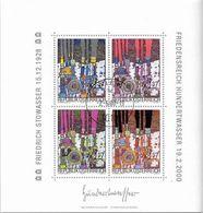 """Österreich Austria 2000: Mi-Nr. 2318-2321 = Block 15 """"Friedensreich Hundertwasser"""" Mit Ersttag-o WIEN 2.6.00 (€ 15.00) - Moderne"""
