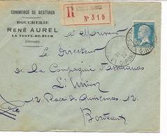 COMMERCE DE BESTIAUX BOUCHERIE- Let. Rec. LA TESTE DE BUCH-GIRONDE -PASTEUR N° 181 1F50 S/LETTRE Pour BORDEAUX - Marcophilie (Lettres)