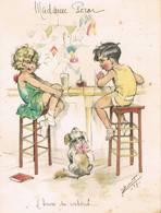 """Menu Illustré Par Germaine BOURET - """" L'Heure Du Cocktail """" - 1929 - Issoudun (Indre) - Menus"""