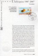 """(Faciale 3 €) """" 100 ANS DU 1er VOL DE L'HELICOPTERE DE M. LEGER """" Sur Notice 1er Jour De 2007. N° YT 2597. Parf. état. - Hubschrauber"""