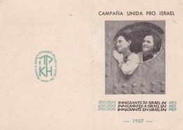 KEREN HAYESOD CAMAPAÑA UNIDA PRO ISRAEL JUDAICA RESPONDIDO AL LLAMADO DE ISRAEL 1957 CARD - BLEUP - Historical Documents