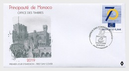 H01 Monaco 2019 70th Anniversary Of The Council Of Europe FDC - Unused Stamps