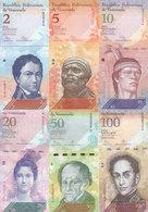 VENEZUELA 2 5 10 20 50 100 BOLIVARES 2007 2015 P-88 89 90 91 92 93 UNC SET */* - Venezuela