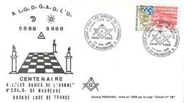 MAUBEUGE LETTRE LOGE FRANC-MACON MACONNERIE DROITS DE L'HOMME TIMBRE PREMIER JOUR - Maubeuge